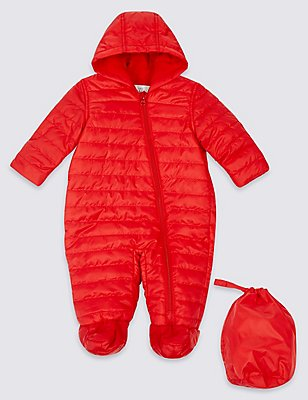 Packaway Puffer Snowsuit, RED, catlanding