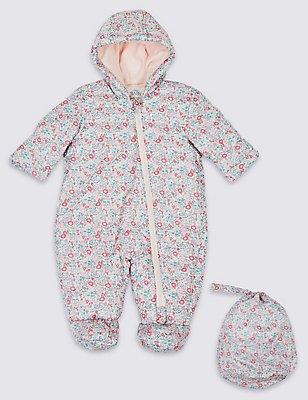 Floral Print Packaway Puffer Snowsuit, SHERBERT, catlanding