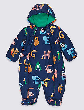 All Over Animal Letter Print Snowsuit, NAVY MIX, catlanding