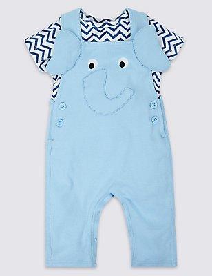2 Piece Pure Cotton Bodysuit & Dungarees Outfit, BLUE, catlanding