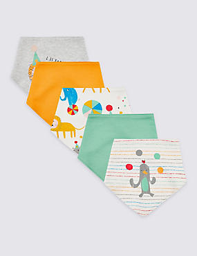 5 Pack Pure Cotton Animal Party Bibs, WHITE MIX, catlanding