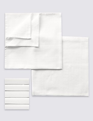5 Pack White Muslin Squares, WHITE, catlanding