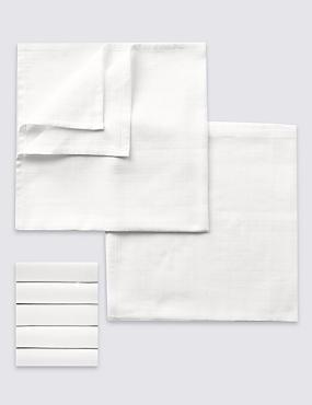 Set van 5 vierkante doeken, effen wit, WIT, catlanding