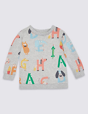 Pure Cotton All Over Print Sweatshirt, MID GREY MARL, catlanding