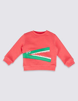 Pure Cotton Sweatshirt, RED, catlanding