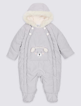 Faux Fur Bear Snowsuit, WINTER WHITE, catlanding