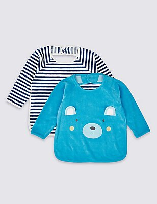 2 Pack Cotton Rich Feeding Bibs, BLUE MIX, catlanding