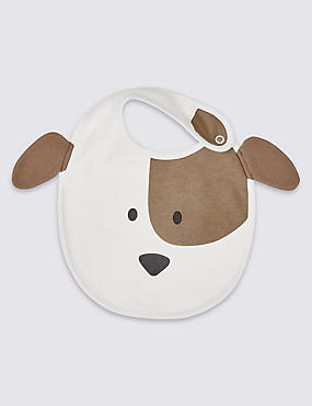 Pure Cotton Dog Applique Bib, WHITE MIX, catlanding