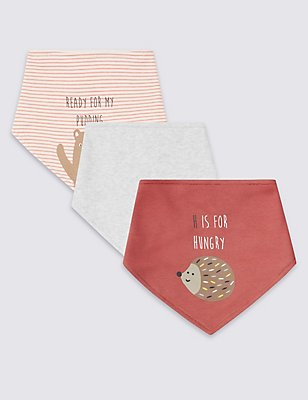 3 Pack Pure Cotton Hungry Animal Bibs, PINK MIX, catlanding