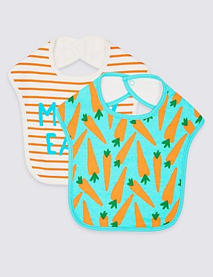 2 Pack Pure Cotton Bibs, AQUA MIX, catlanding