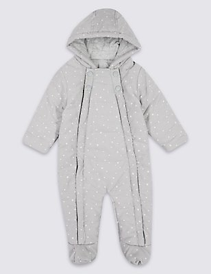 Pure Cotton Printed Cord Pramsuit, GREY MIX, catlanding