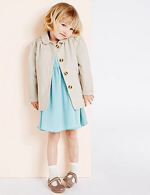 Girls Textured Lightweight Jacket (3 Months - 5 Years), LIGHT PUTTY, catlanding