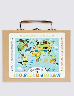 130 Piece Jigsaw World Puzzle, , catlanding