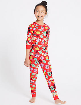 All Over Print Cotton Pyjamas with Stretch (1-16 Years), RED MIX, catlanding