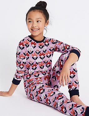 All Over Print Cotton Pyjamas with Stretch (1-16 Years), LILAC MIX, catlanding