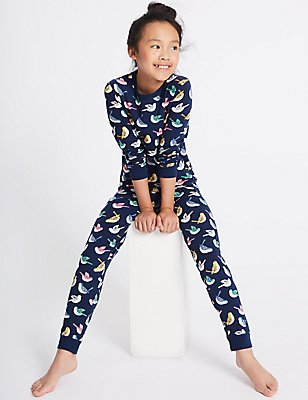 All Over Print Cotton Pyjamas with Stretch (1-16 Years), NAVY MIX, catlanding