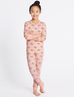 Printed Pyjamas with Stretch (1-16 Years), PINK MIX, catlanding