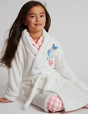 Embroidered Floral Dressing Gown with Belt (1-16 Years), WHITE MIX, catlanding