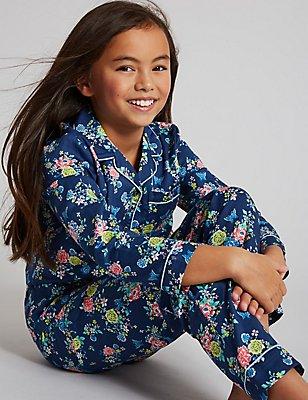 Pure Cotton Floral Print Pyjamas (1-16 Years), INDIGO MIX, catlanding