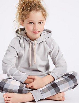 Langarm-Schlafanzug mit Kapuze (7–16 Jahre), GRAU MELANGE, catlanding