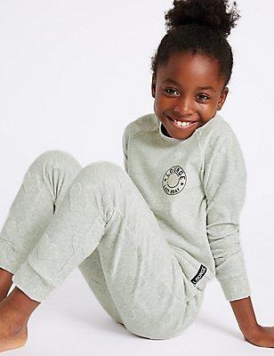 Katoenrijke pyjama (7-16 jaar), GRIJS MIX, catlanding