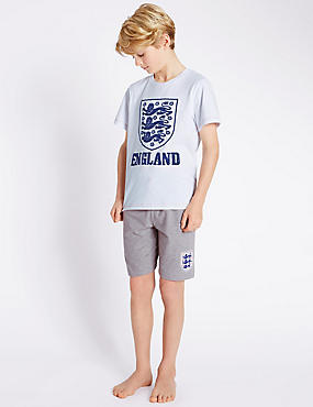 Official England FA 3 Lions Base Layer Short Pyjamas (3-16 Years)