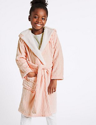 Hooded Dressing Gown with Belt (3-16 Years), PINK MIX, catlanding