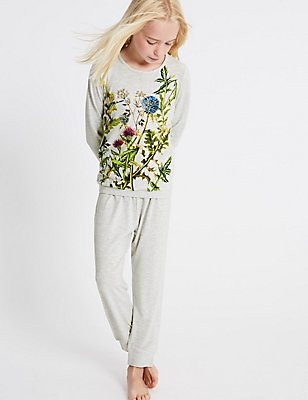 Printed Long Sleeve Pyjamas (3-16 Years), GREY MIX, catlanding