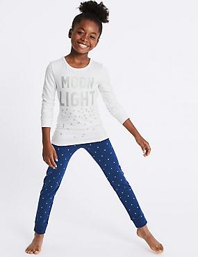 Cotton Pyjamas with Stretch (3-16 Years), PURPLE MIX, catlanding