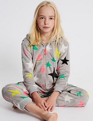 Star Print Hooded Onesie (1-16 Years), GREY MIX, catlanding