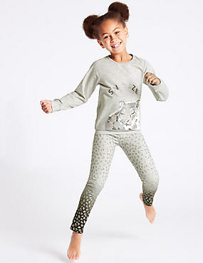 Leopard Print Pyjamas (3-16 Years), GREY MIX, catlanding