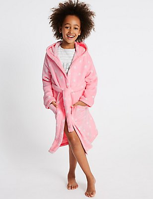 Hooded Dressing Gown with Belt (1-16 Years), PINK MIX, catlanding