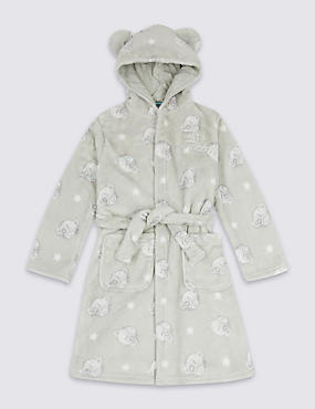 Hooded Dressing Gown with Belt (2-16 Years), GREY MIX, catlanding