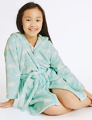 Hooded Dressing Gown with Belt (1-16 Years), AQUA MIX, catlanding