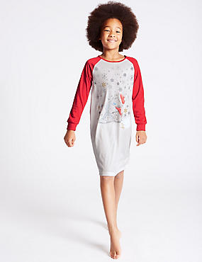Long Sleeve Printed Nightdress (6-16 Years), RED MIX, catlanding