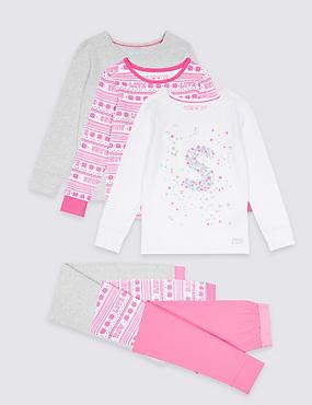 3 Pack Cotton Rich Pyjamas (3-16 Years), PINK MIX, catlanding