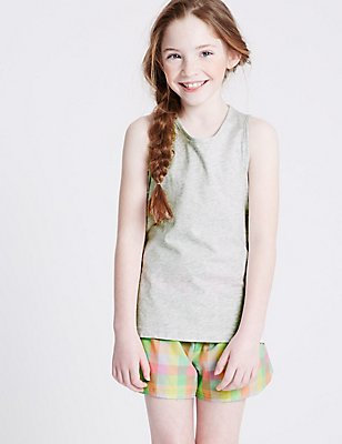 Pure Cotton Short Pyjamas (3-16 Years), GREY MIX, catlanding
