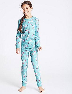 Cotton Unicorn Pyjamas with Stretch (1-16 Years), AQUA, catlanding