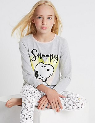 Snoopy™ Pyjamas (6-16 Years), WHITE MIX, catlanding