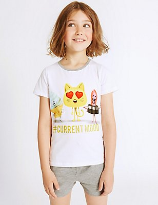 Emoji Print Short Pyjamas (7-16 Years), GREY MIX, catlanding