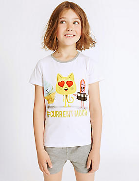 Emoji Print Short Pyjamas (7-16 Years), GREY MIX, catlanding