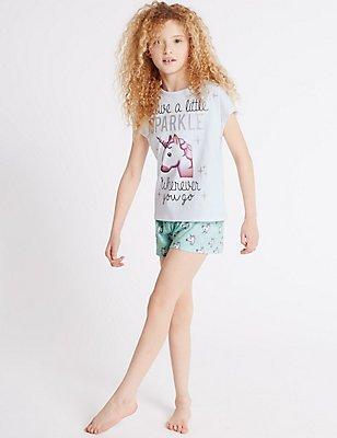 Printed Unicorn Emoji Short Pyjamas (6-16 Years), WHITE MIX, catlanding