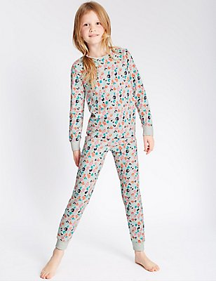 Cotton Leopard Print Long Sleeve Pyjamas with Stretch (1-16 Years), MULTI, catlanding