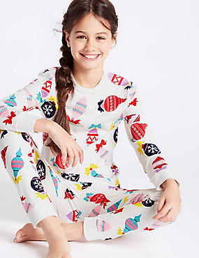 All Over Print Cotton Pyjamas with Stretch (1-16 Years), MULTI, catlanding