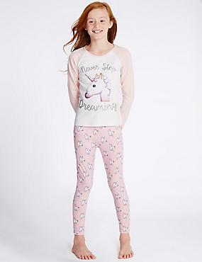 Pyjama met lange mouwen en eenhoornprint (6-16 jaar), WIT MIX, catlanding