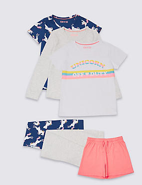3 Pack Printed Pyjamas (3-16 Years), GREY MIX, catlanding