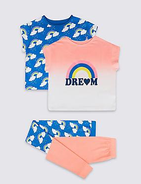 2 Pack Dream Rainbow Pyjamas (3-16 Years), PINK MIX, catlanding