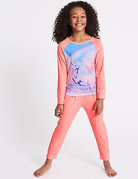 Unicorn Print Pyjamas (3-16 Years), GREY MIX, catlanding