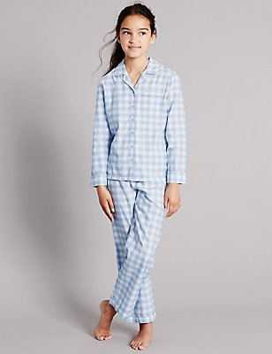 Pure Cotton Gingham Check Pyjamas (1-16 Years), BLUE MIX, catlanding