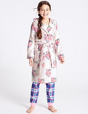 Floral Print Dressing Gown with Belt (1-16 Years), WHITE MIX, catlanding